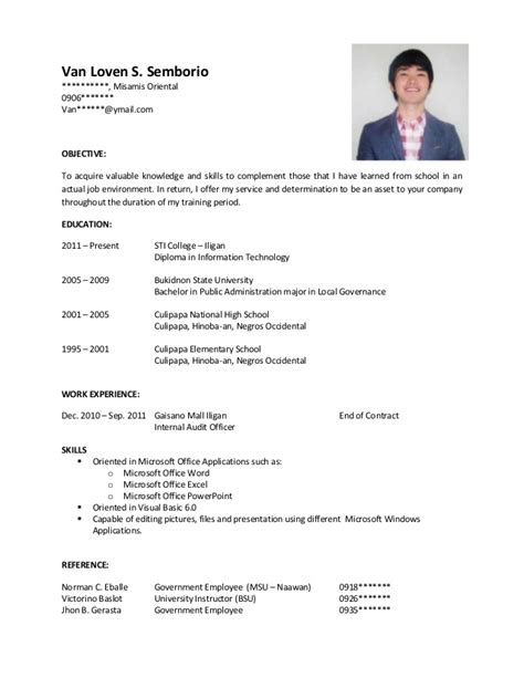 Sample resume of hrm students jpg 638x826